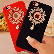 Hot Luxury Pearls Diamond Case for IPhone7 IPhone 7 Plus Case TPU Phone Back Finger Ring Holder Girls Cover Cases(China)