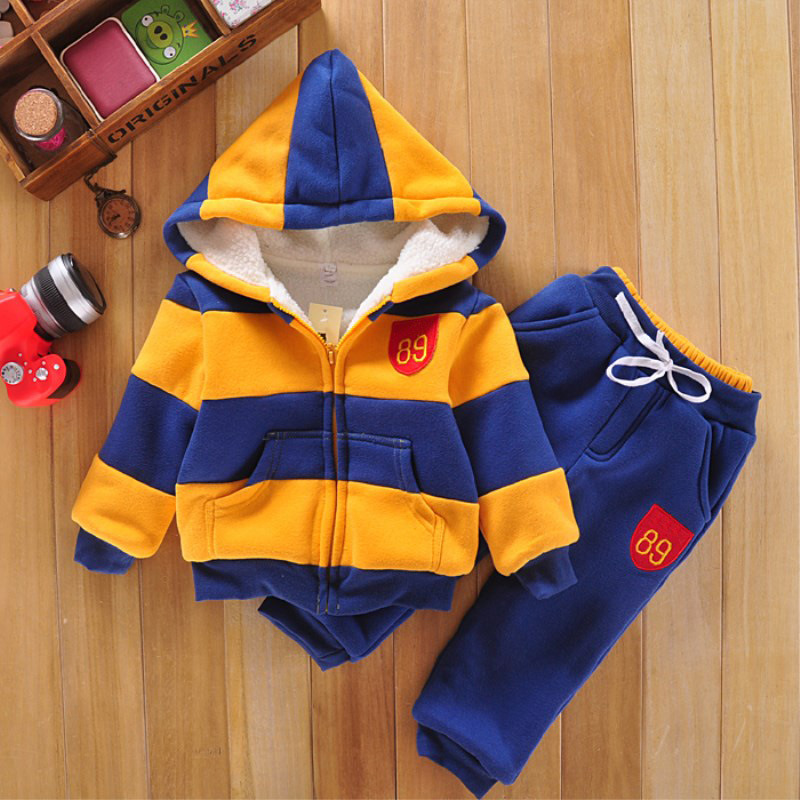 3Color Winter Boys Girls Children Hoodies Wool Sherpa Baby Sports Suit New Jacket Sweater Coat &amp; Pants Thicken Kids Clothes Sets<br>