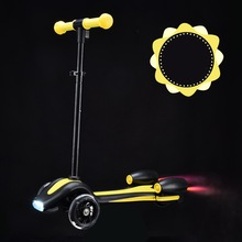 B 2017 New Design with Rocket Shape Push Flame Height Adjustable 3-18Y Children Tricycle Standing Scooter