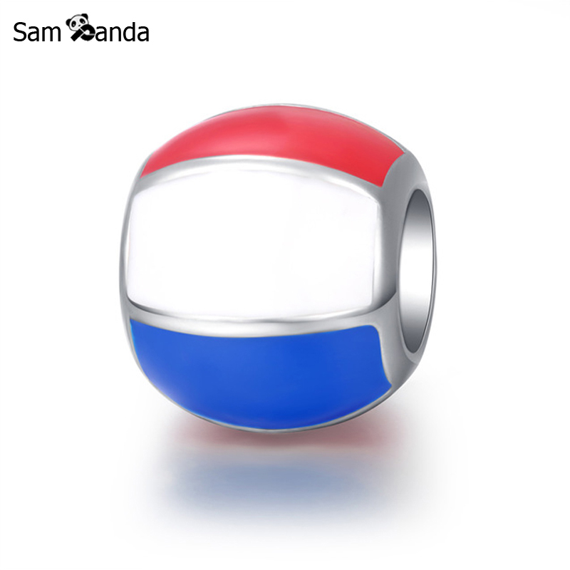 Authentic 925 Sterling Silver Charm Bead Glaze Enamel Beach Ball Beads Fit Pandora Women Bracelets & Bangles DIY Jewelry YW20182(China)