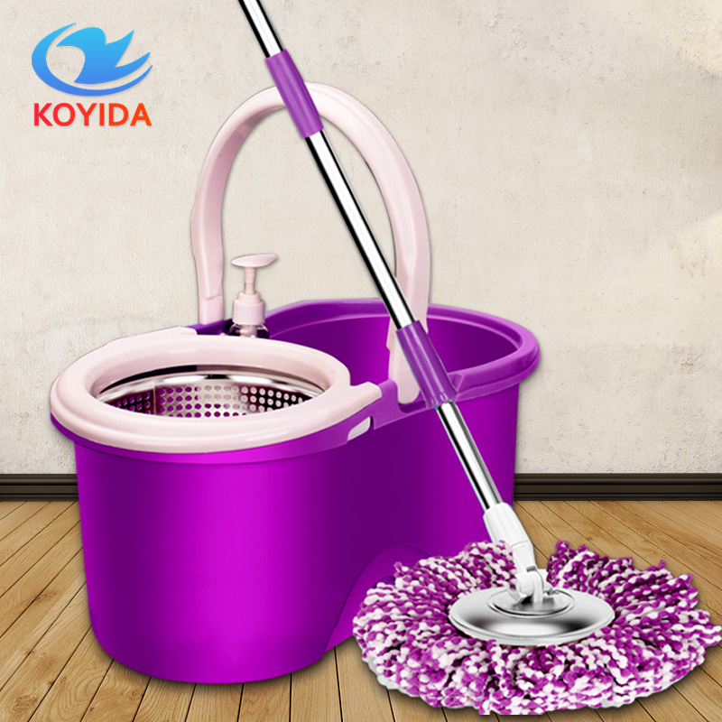 KOYIDA Mop Bucket Magic Spin Mop Bucket Double Drive Hand Pressure With 1 Microfiber Mop Head Household Floor Cleaning &4 Colors(China (Mainland))