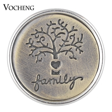 Antique Bronze Vocheng Snap Charms Button Etched Family Tree 18mm Vn-1751(China)