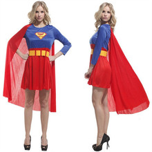 superman costume women's Supergirl Adult with cloak Halloween adult clothing Classic super hero theme party performance clothes
