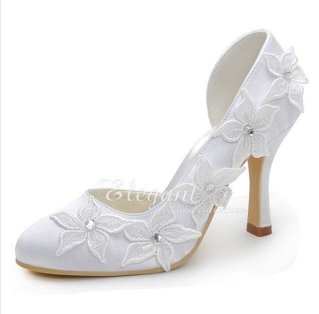 Sparkling White Bridal Dress Shoes High Heel Lady Party Dress Shoes Lovely Flower Elegant Satin Wedding Shoes  Plus Size Pumps<br><br>Aliexpress
