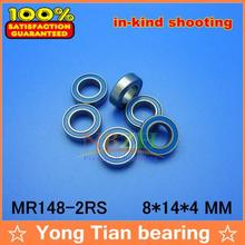 Free Shipping High quality 10PCS MR148-2RS ABEC-5 8*14*4 mm Miniature Ball Bearings MR148RS L1480 Blue rubber seal(China)