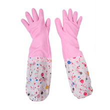 2 Colors Durable Waterproof Household Glove Warm Dishwashing Glove Water Dust Stop Cleaning Rubber Glove