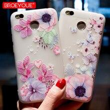 BROEYOUE Case Xiaomi Redmi 4X Case TPU Soft Transparent 3D Relief Flowers Coque Redmi 4X Silicone Cute Cartoon Cover