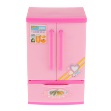 Kids Play Dollhouse Mini Refrigerator Pretend Toy Educational Creative Gift Pink Doll House Decoration Classic Toys for Children(China)