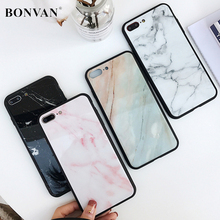 Buy BONVAN Tempered Glass Case iPhone X Luxury Marble Hard Back Cover Soft Silicone Bumper iPhone 7 6S 8 Plus 6 Plus Cases for $4.50 in AliExpress store