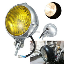 Polished Vintage Bates Style Motorcycle Head Light Lamp H4 Fits For Harley Chopper Sportster Softail Custom