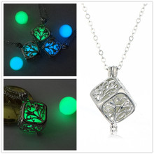 HOT 1PCS Hollow Out Tree of Life Luminous Cube Pendant Light Box Necklace Locket Statement Necklaces Sweater Chain Jewelry(China)