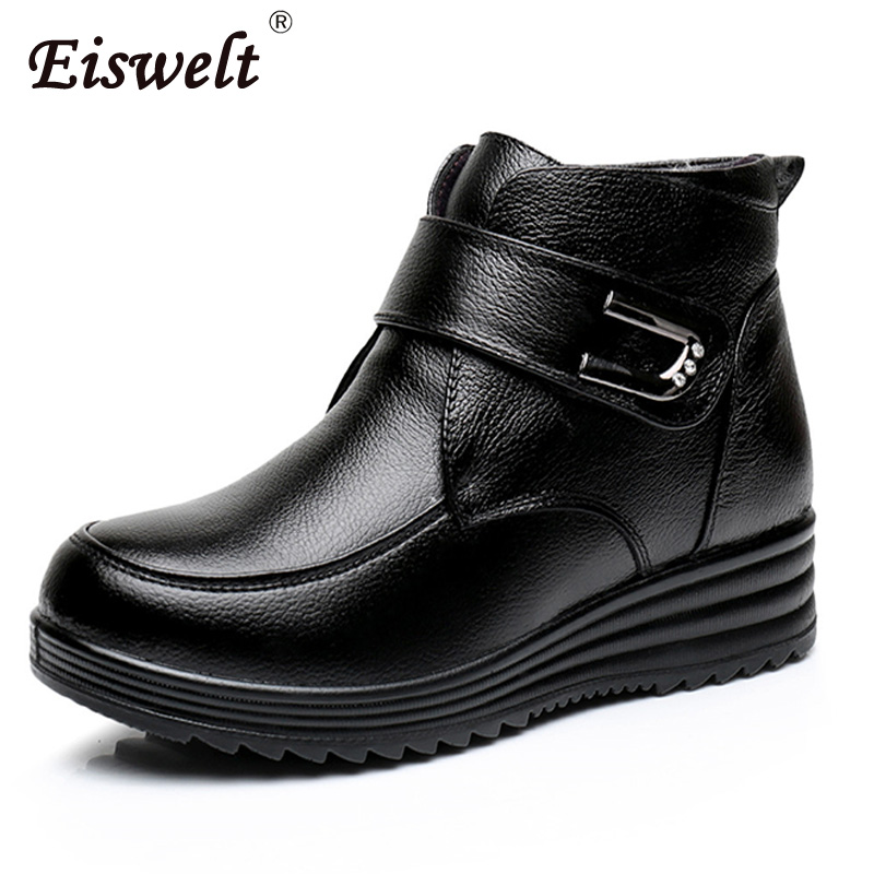 EISWELT Winter Boots Female Plush Women Genuine Leather Shoes Mather Shoes Wedges Boots Black Ankle Boots Buckle Platform#ZQS219<br>
