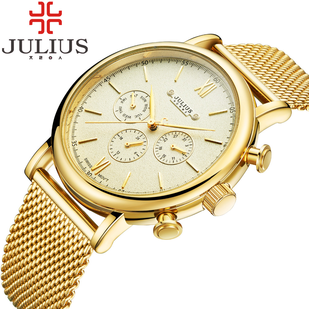 2017 Julius Brand Mens Watches Luxurious Business Stainless Steel Mesh Band Gold Watch Man quartz-watch Male Relogio Masculino<br><br>Aliexpress