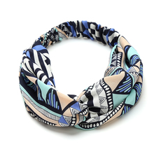 Boho Design Headbands Wholesale Fashion Striped Print Headwear Floral Crossed Bow Elastic Hair Band accessories high quality