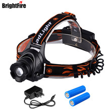 Professinal Waterproof Zoomable LED Headlamp Headlight 4800LM 3 Mode Head Lamp Head Light with 2*18650 Battery