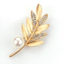 Matte Gold Color Plated Fashion Leaf Brooch Pins with Imitation Pearls in Assorted(China)