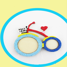 Cute DIY Bicycle Photo Frame Snow Mud Frame Model Creative Diy Manual Foam Putty Coloured Drawing Pattern Free Filling Bike Toy