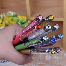 1pcs/lot New Promotion Gift Ballpoint Pen with Top bling Diamond Crystal Metal brand Pen Lovers Logo Signature free shipping(China)