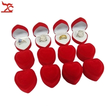 Wholesale 144Pcs Romantic Jewelry Display Box Red Velvet Valentine's Day Birthday engagement Heart Shape Ring Gift Boxes
