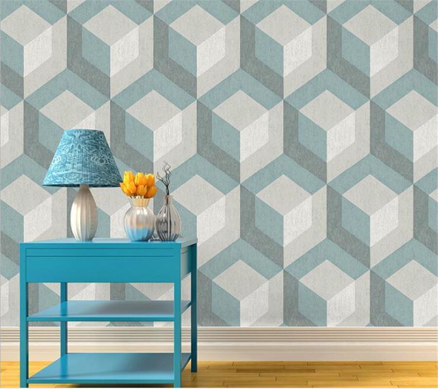Beibehang Modern fashion geometric wall wallpaper living room bedroom cafe television background wallpaper for walls 3 d<br>