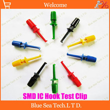 Free Shipping 50pcs Multimeter Lead Wire Kit SMD IC Hook Test Clip Grabbers Probes Cable Welding (Large size) Six color(China)