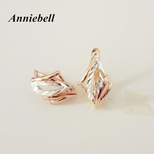Anniebell Wholesale Factory Femme Jewellery Rose Gold Color Women Accessories leaf Shape Luxury Design Girls Earring