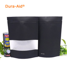 Dura-Aid Heat Seal Stand Up Valve Ziplock black Kraft Paper Pack Bags with clear Window Biscuit Doypack Zipper Storage Pouch