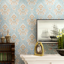 New 10m*53cm embossed Luxury Bedroom European Wallpapers 3D Stereo Relief Wall paper Living Room Backdrop Damascus Super Style(China)