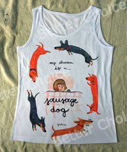 Track Ship+Vintage Vest Tanks Tank Tops Camis Little Girl Sleeping Dream is Dachshund Dog Friend 0423