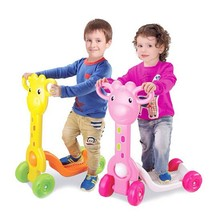Lovely Giraffe Push Kick Scooter Kids Children 4 Wheel Ride On Bikes Scooters