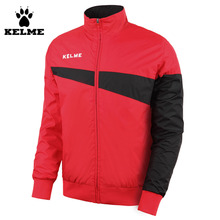 Kelme Red Black Men Training Woven Wind Raincoats Windproof Breathable Stand Collar K15S308 Jacket