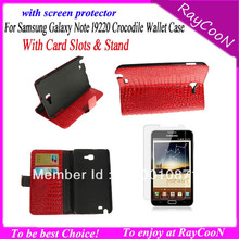 1pc Crocodile Case for Galaxy note, wallet cas for Samsung Galaxy note i9220 n7000 , black color, free shipping