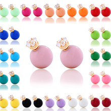 10PCS/LOT New Fashion Stud Earring Round Big Pearl Beads Earrings Crystal crown charm earring for women design jewelry #ER061