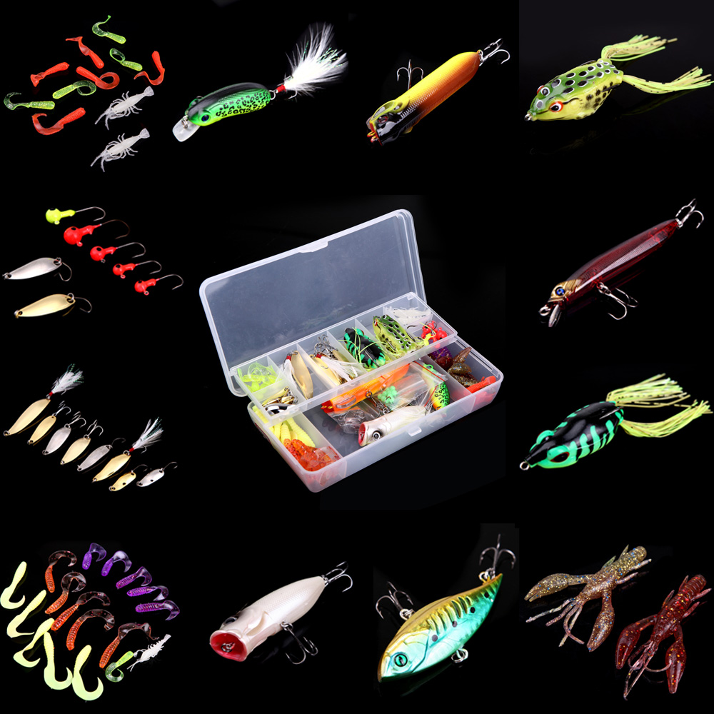 105Pcs Artificial Fishing Lure Set Hard Soft Bait Minnow Spoon Two-layer Fishing Tackle Box<br><br>Aliexpress