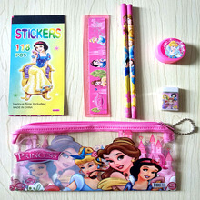 Kawaii stationery Beautiful Princess stationery sets for girls Cute pencil case sticker kids gift Office School Supplies estojo(China)