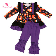 2017 Halloween Toddler Kids Wholesal Fall Children Clothing Gift Girls Boutique Outfits Clothes Birthday Party Baby Pajamas Set