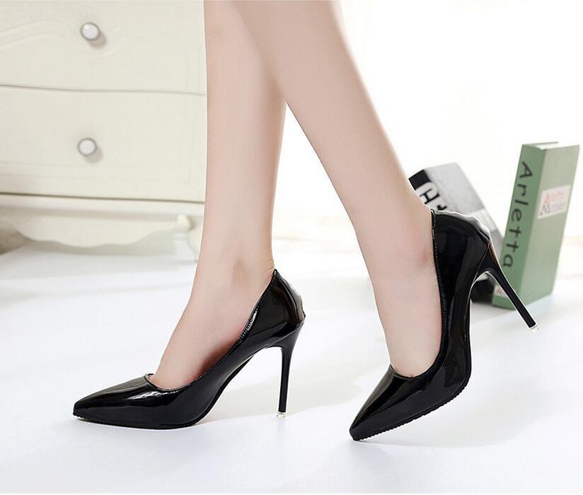 2018 Femmes Chaussures Bout Pointu Pompes En Cuir Verni Chaussures Habillées Talons hauts 19