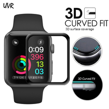 For iWatch Plating Tempered Glass For Apple Watch 38mm 42mm Series 3 2 1 Full Cover 3D Curved Black Edge Screen Protector Film(China)