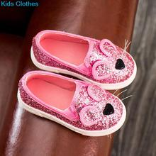 Spring Fashion Baby Kids Sequins Cartoon Mouse Casual Shoes For Girls 3 Colors Chlidren Footwear size 21-30 Flats(China)