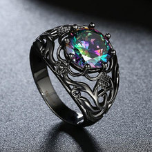 Tuker New Fashion black gun plated Copper alloy Cubic Zirconia Rings For Women Female Vintage Wedding Ring Jewelry Wholesale