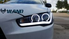 Free shipping for VLAND Car head lamp for Mitsubishi Lancer EX 2008-2015 LED head light Bi-Xenon lens headlights angel eyes(China)