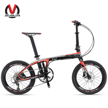 SAVA 20 inch Folding Bike T700 Carbon Fiber Frame Ultralight 9 Speed SHIMANO 3000 Derailleur Mini Compact City Tour Bike