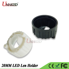 20pcs led lens holder Bracket for 20mm LEN White/Black 2Pin bracket Holder For1W 3W 5W High Power len Hold size Dia 22*13.5mm(China)