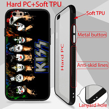 Kiss Band Rock Patterned Case For iPhone 6S Cover high quality back PC+TPU Side For iPhone 6 phone cases anti-skid lines design(China)