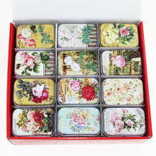 Wholesale! 3D Chinese Traditional Flower Tin Box 36Piece/Box Mac Cosmetics Organizer Pure Macaron Lipstick Box Tea Box