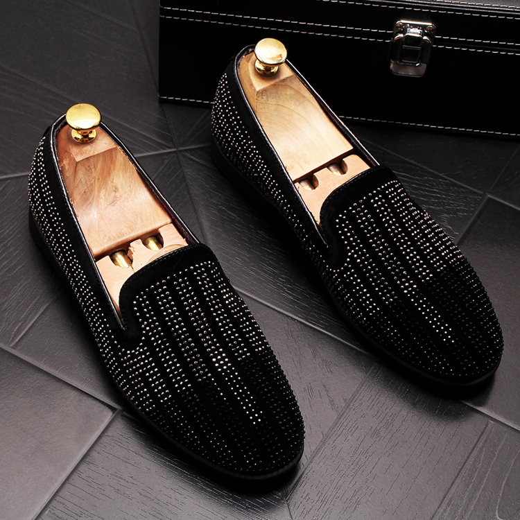 2019 New Gradient Striped Rhinestones Loafers shoes SmokingSlippers Dress Wedding Party Flats Casual Moccasins shoe 43 Online shopping Bangladesh