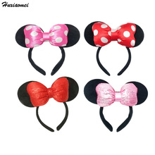 Huxiaome 1pcs Mickey Minnie Mouse Ears Headband Birthday Party Decoration Boy Girl Pink And Red Hair Accessories Party Supplies