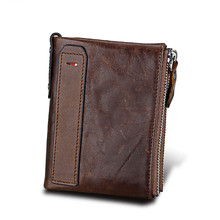Genuine Cowhide Leather Men Wallet Top Quality Male Short Coin Purse Double Zippers Men Purse Luxury Brand Design Carteira