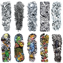 Wholesale Latest waterproof temporary tattoo Big QB Removable Full Arm body tattoos Man disposable tatuajes 200pcs free shipping