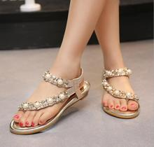 New women sandals diamond wrist strappy clip toe flip flops and sandals beaded sandals women clip toe flat sandals